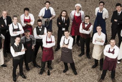 Les musiciens du Big Band de l'O.E.U.F. déguisés en cuisiniers